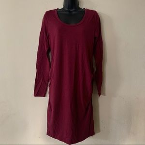 Old Navy Burgundy Long Sleeve Maternity Dress